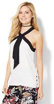 New York & Co. 7th Avenue Design Studio - Tie-Detail Halter Blouse - Colorblock