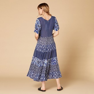 Derhy Printed Smocked Maxi Dress with V-Neck and Short Sleeves