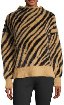 En Thread Tiger-Print Faux Fur Sweater