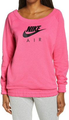 Nike Air Off the Shoulder Fleece Logo Graphic Sweatshirt