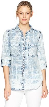 Nine West Women's Maya Roll Cuff Button Front Shirt