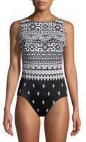 Longitude One-Piece Mixed Print Swimsuit