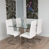 Matrix Brushed Stainless Steel Square Glass Dining Table
