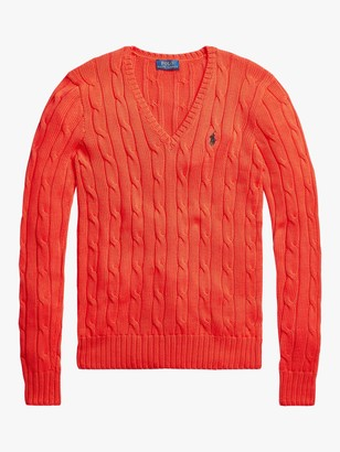 Ralph Lauren Polo Kimberly Classic Cable Knit Cotton Jumper, African Red