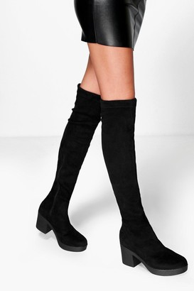 boohoo Cleated Stretch Over The Knee Boots