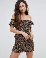 Fashion Union Off The Shoulder Playsuit In Floral