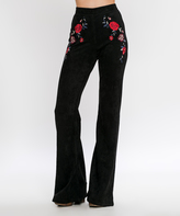 Flying Tomato Black Floral-Accent Flare Pants