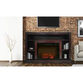Red Barrel Studio Ducharme TV Stand for TVs up to 24 inches with Fireplace Included Red Barrel Studio Color: Cherry