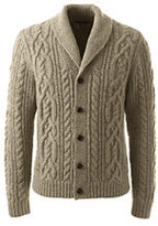 Classic Men's Wool Blend Cable Shawl Cardigan-Charcoal Heather