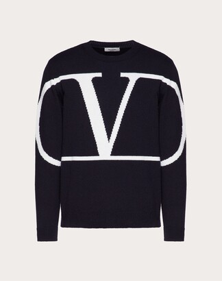 Valentino Vlogo Signature Crew-neck Sweater Man Navy/ivory Cashmere 100% L
