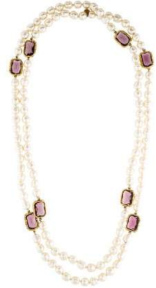 Chanel Faux Pearl & Crystal Necklace