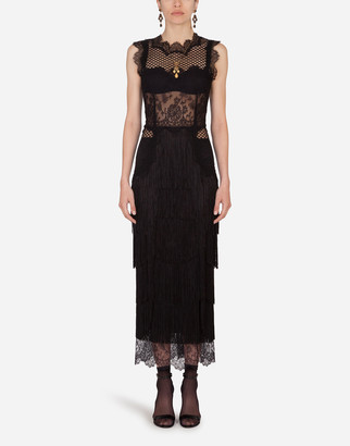 Dolce & Gabbana Lace Sheath Dress With Fringing