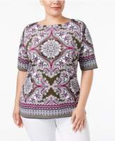 Charter Club Plus Size Scarf-Print Boat-Neck Top, Created for Macy's