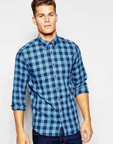 Tommy Hilfiger Shirt In Large Gingham - Blue