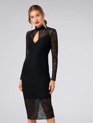 Forever New Kim Long-Sleeved Lace Dress - Black - 4