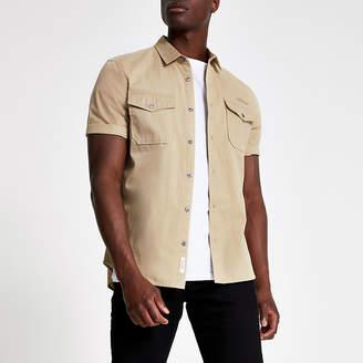 River Island Ecru utility short sleeve regular fit shirt