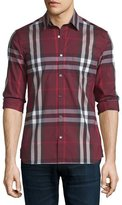 Burberry Nelson Tight-Check Sport Shirt, Claret