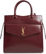 Saint Laurent Medium Uptown Cabas Leather Satchel