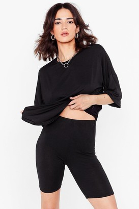 Nasty Gal Womens My Cup Of Oversized Tee and Biker Shorts Petite Set - Black