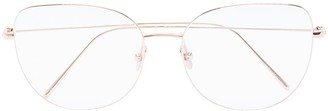 Linda Farrow Round-Frame Gold-Tone Optical Glasses