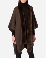 N.Peal Fur Edge Ribbed Cashmere Shawl