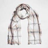 River Island Womens Cream check lurex scarf