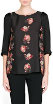 MANGO Outlet Floral Print Satin Blouse