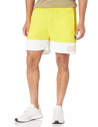 adidas mens Pride Freestyle Woven Shorts Yellow/White XX-Large