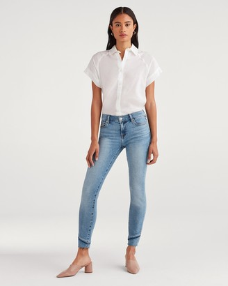 7 For All Mankind Luxe Vintage Ankle Skinny with Fray Staggered Hem in Flora
