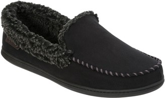 Dearfoams Microsuede Moccasin Slippers with Whipstitch Detail