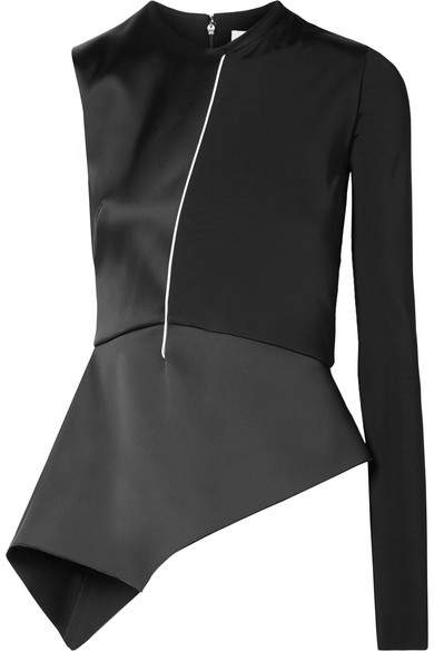 Esteban Cortazar One-sleeve Satin And Jersey Peplum Top