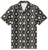 Officine Generale Dario Camp-Collar Printed Linen And Cotton-Blend Shirt