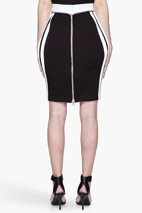 DENIS GAGNON Black and white zippered neoprene skirt