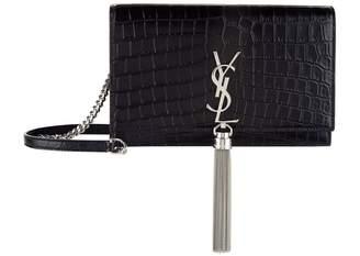 Saint Laurent Small Croc-Embossed Kate Tassel Shoulder Bag