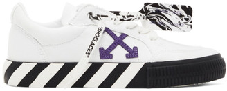 Off-White White and Purple Canvas Vulcanized Sneakers