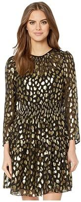 Rebecca Taylor Long Sleeve Leopard Metallic Dress (Black Combo) Women's Clothing