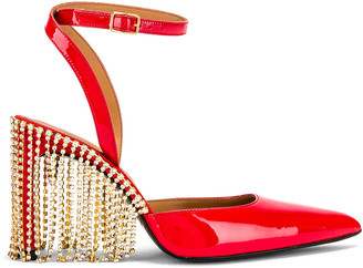 Area Crystal Fringe High Heel in Red Patent | FWRD