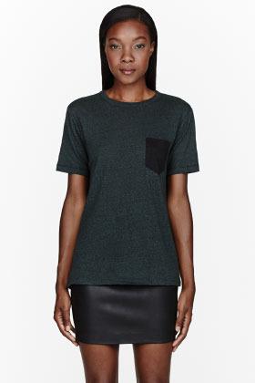 Alexander Wang Heather green jersey Contrast-Pocket t-shirt