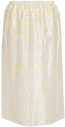 Marni Polka-dot Satin Midi Skirt