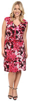 London Times Plus Size Van Gogh Flower V-Neck Fit and Flare Dress