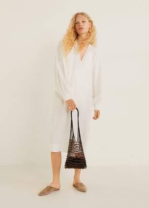 MANGO Puffed sleeves cotton dress off white - XXS-XS - Women