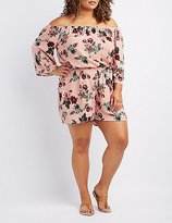 Charlotte Russe Plus Size Floral Off-The-Shoulder Romper