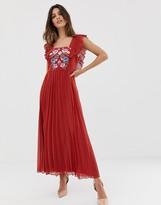 Asos Design DESIGN pleated embroidered square neck skater midi dress