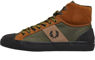 Fred Perry Mens Hughes Mid Hike Poly/Suede Trainers Ginger