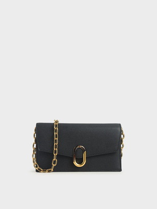 Charles & Keith Stone-Embellished Envelope Wallet