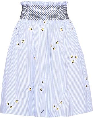 Miu Miu Floral Embroidered Poplin Skirt