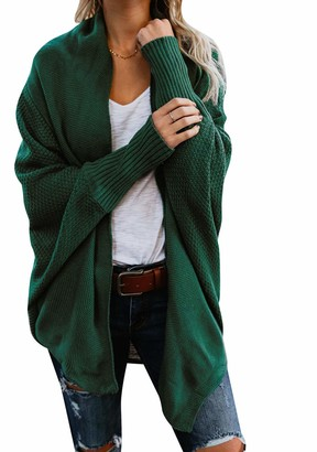 OMZIN Women's Long Sleeve Cardigan Open Front Sweater Casual Tops Autumn Winter Outwear Pullover Black S