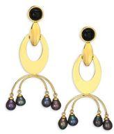 Lizzie Fortunato Gazelle 9MM Peacock Freshwater Pearl Drop Earrings