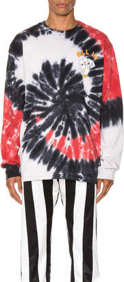 Just Don Dealers Spiral Dye Long Sleeve Tee in Black | FWRD