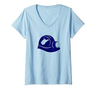 Womens West Virginia Hard Hat with State Coal Miner V-Neck T-Shirt